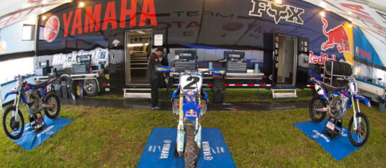 Inside the Team Yamaha Blackfoot Tent