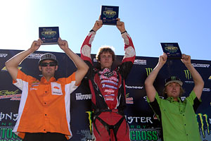 Aron Harvey on top of the Podium